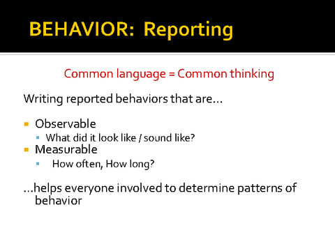 behavior: reporting