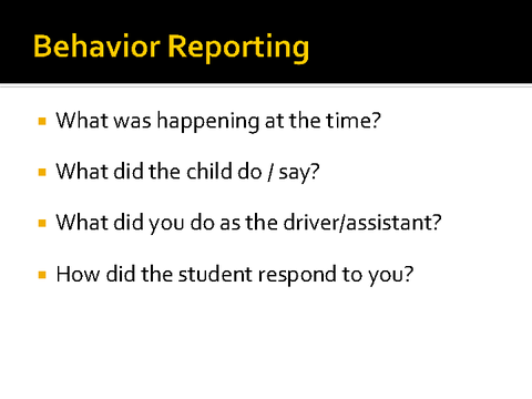 behavior reporting
