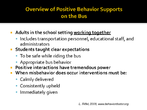 overview of positive behavior supports on the bus