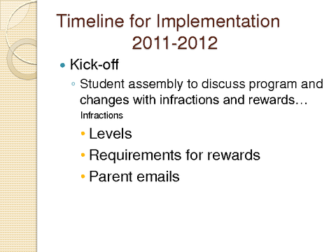 Timeline for Implementation 2011-2012