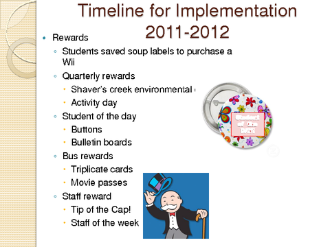 Timeline for Implementation Rewards 2011-2012