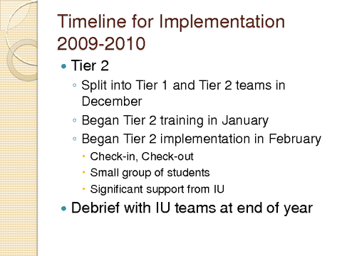 Timeline for Implementation 2009-2010