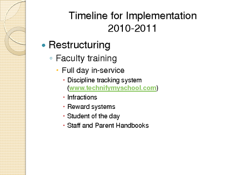 Timeline for Implementation 2010-2011