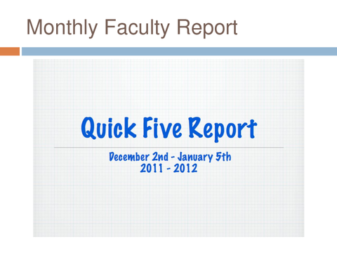 monthly faculty report