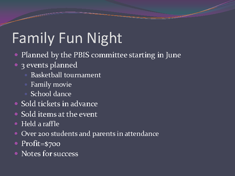 Family Fun Night Basketball tournament Family movie School dance