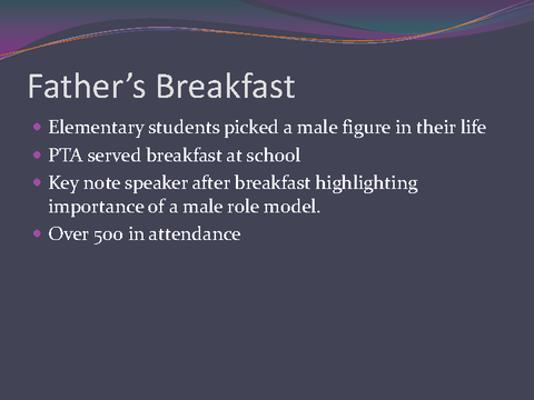 Father's Breakfast Elementary students picked a male figure in their life