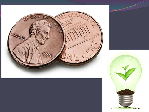 [images: two cents, light bulb]