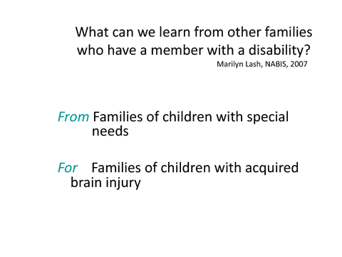 What can we learn from other families who have a member with a disability?