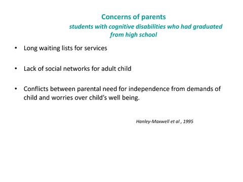 Concerns of parents students with cognitive disabilities