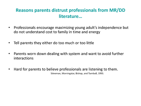 Reasons parents distrust professionals from MR/DD literature