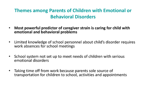 Themes among Parents of Children with Emotional or Behavioral Disorders