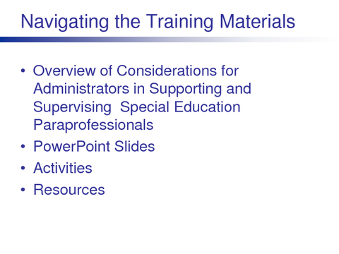 Navigating the Training Materials