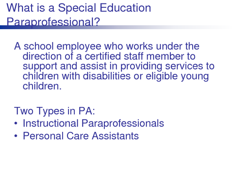 What is a Special Education Paraprofessional?