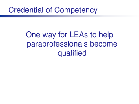 Credential of Competency