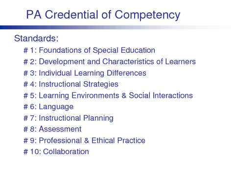 PA Credential of Competency