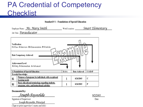 PA Credential of Competency Checklist