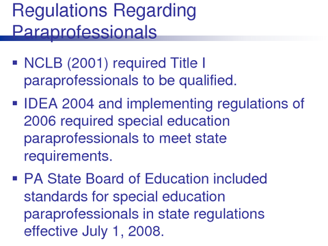 Regulations Regarding Paraprofessionals