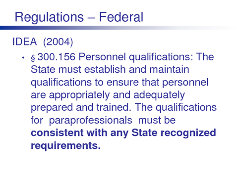 Regulations - Federal
