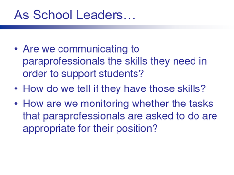 As School Leaders...