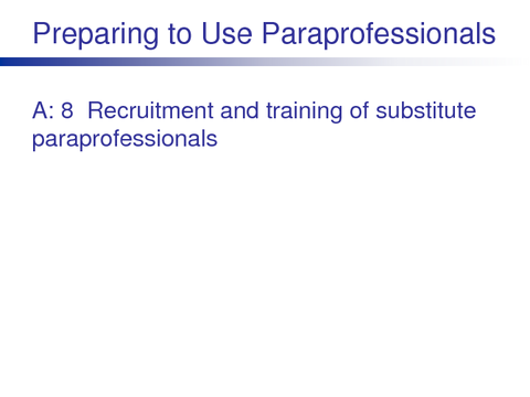 Preparing to Use Paraprofessionals
