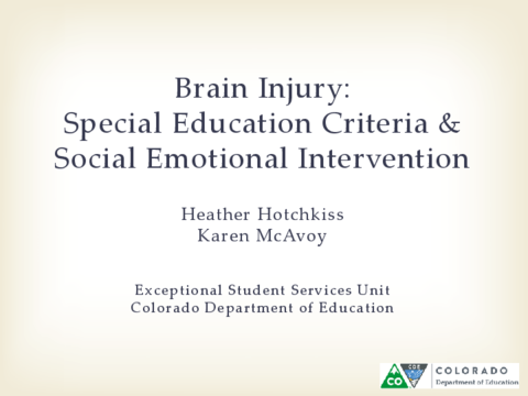Brain Injury Special Education Criteria Social Emotional Intervention Part 1